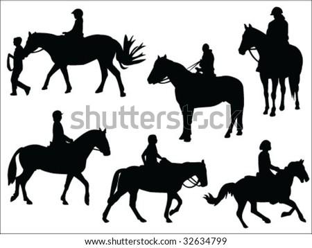 horseback riding silhouettes collection vector - stock vector