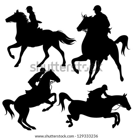 horsemen fine vector silhouettes - horseback jockeys black detailed outlines over white (horses are not merged with riders and can be easily edited) - stock vector