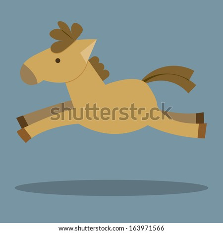 Horses Cartoon. Illustration of a funny horse. Cartoon Horse Running. Horse jumping. illustration of isolated horse vector.  - stock vector