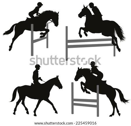Horses jumping a hurdle. Vector silhouettes set. EPS 10 - stock vector