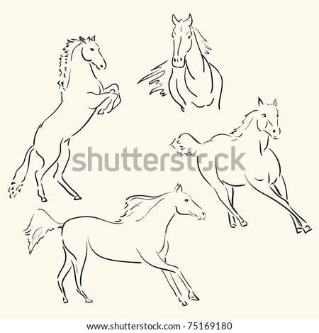 horses line art - stock vector