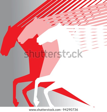horses on grey background - stock vector