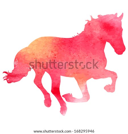 Horses silhouette vector illustration, with watercolor texture. - stock vector