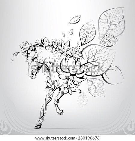 Horses silhouettes of flowers - stock vector