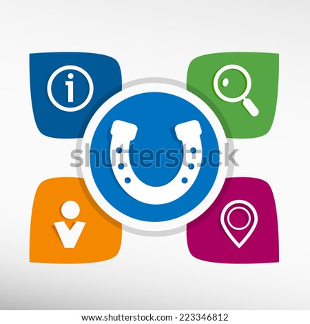 Horseshoe and icons set vector illustration. Modern Flat style  - stock vector