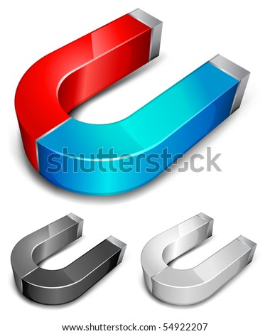 Horseshoe color magnets over white background, vector illustration - stock vector