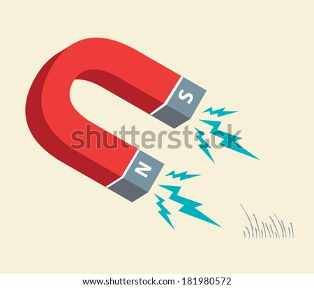 Horseshoe Magnet attracts iron filings. Illustration Vector - stock vector