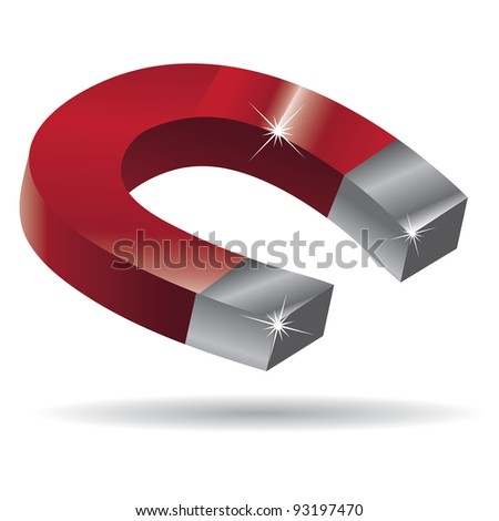 Horseshoe Magnet EPS 8 vector, grouped for easy editing. No open shapes or paths. - stock vector