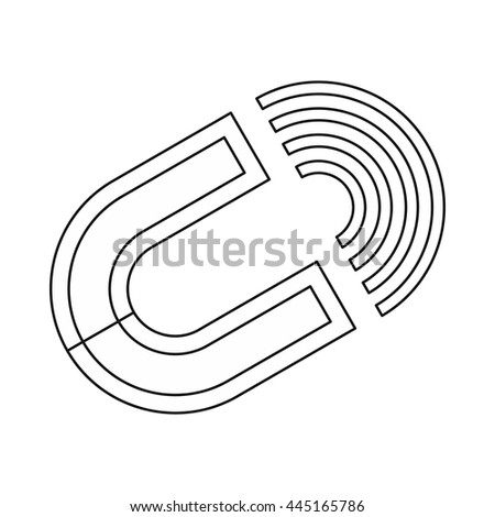 Horseshoe magnet icon in outline style isolated on white background - stock vector