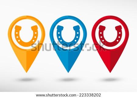 Horseshoe map pointer, vector illustration. Flat design style - stock vector