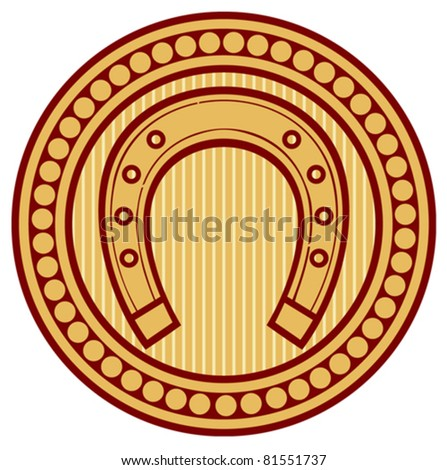 horseshoe seal (sign, symbol, badge) - stock vector