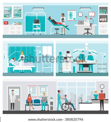 Hospital and healthcare banner set: doctors working in the office, ward, surgery, reception and patients waiting in the corridor - stock vector
