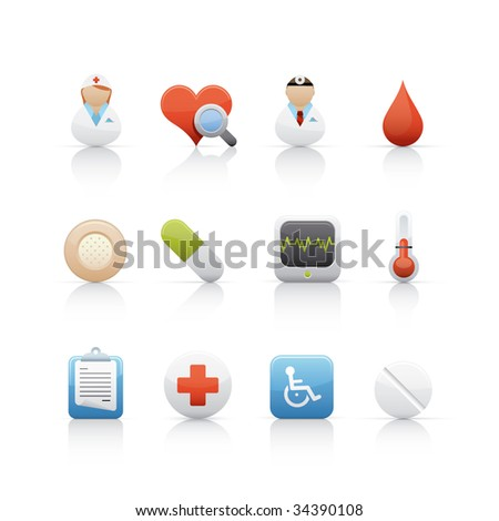 Hospital and Medical Center Set of icons on white background in Adobe Illustrator EPS 8 format for multiple applications.