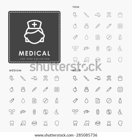hospital and medical on thin, medium and bold outline icons concept - stock vector