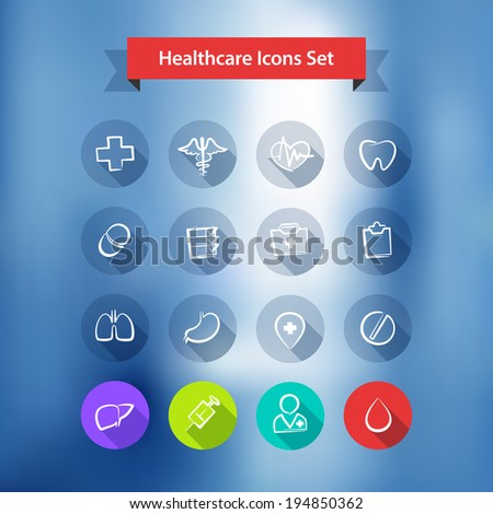 Hospital Blur Background With Flat Icons Set.  - stock vector