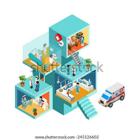 Hospital building with people flat 3d web isometric infographic concept vector. Exterior and interior isometry rooms with people staff workers, doctors, nurses, ambulance. Creative people collection. - stock vector