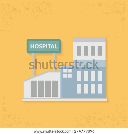 Hospital design on yellow background,clean vector