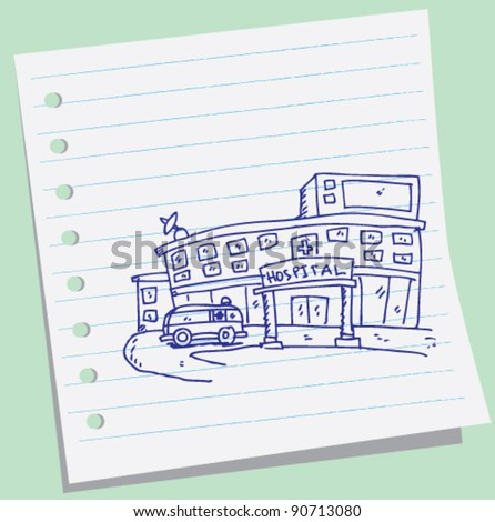 hospital doodle illustration - stock vector