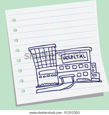 hospital doodle sketch illustration - stock vector