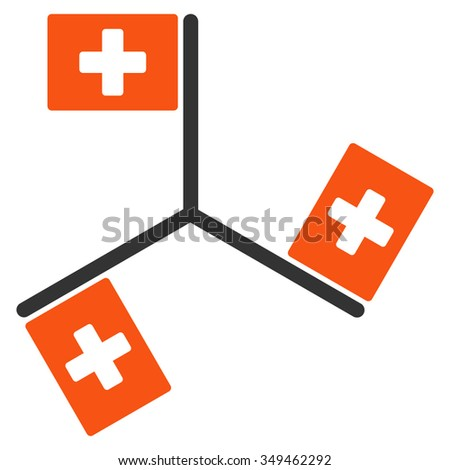 Hospital Flags vector icon. Style is bicolor flat symbol, orange and gray colors, rounded angles, white background.