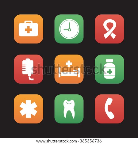 Hospital flat design icons set. Medical healthcare center. First aid medicine chest, drop counter and dentist tooth symbol. Ambulance star of life and aids ribbon. Web application interface. Vector - stock vector