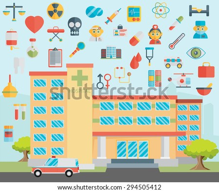 Hospital. Healthcare and medical icons - stock vector