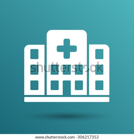 Hospital icon cross building isolated human medical view. - stock vector