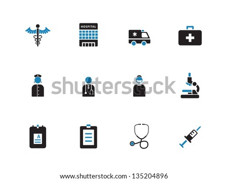 Hospital icons on white background. Vector illustration. - stock vector