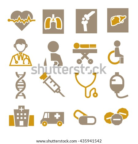 hospital, infirmary icon set - stock vector