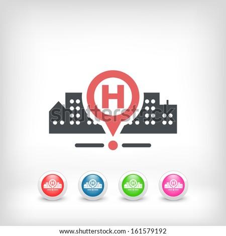 Hospital location - stock vector