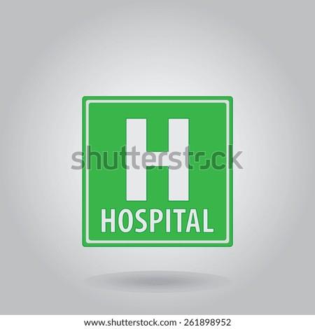 Hospital mark icon, vector illustration. Flat design style - stock vector