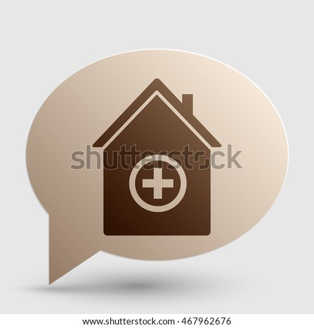 Hospital sign illustration. Brown gradient icon on bubble with shadow.