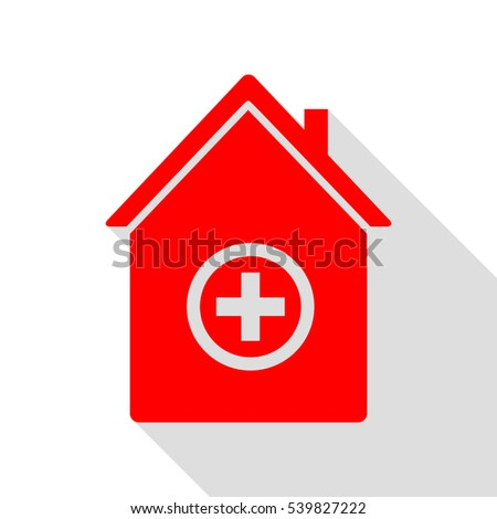 Hospital sign illustration. Red icon with flat style shadow path.