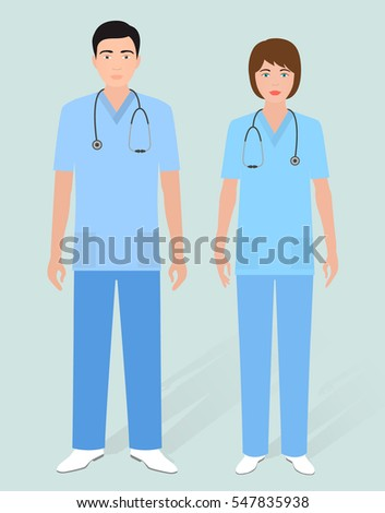 Hospital Staff Concept Couple Man Orderly Stock Vector 547835938 ...