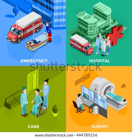 Hospital 2x2 design concept set of emergency help equipment for survey and medical healthcare staff decorative icons flat vector illustration     - stock vector