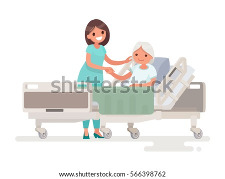 Hospitalization of the patient. A nurse taking care of a sick elderly woman lying in a medical bed. Vector illustration in a flat style