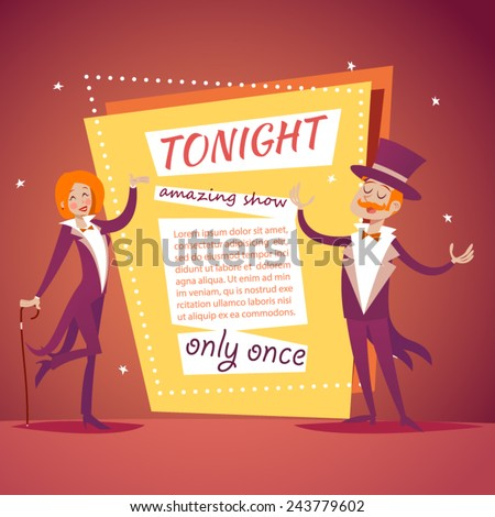 Host Lady Girl Boy Man in Suit with Cane and  Cylinder Hat Ads Circus Show Icon on Stylish Background Retro Cartoon Design Vector Illustration - stock vector