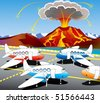 Hostages of the volcano - aircraft awaiting flights look at erupting volcano - stock vector