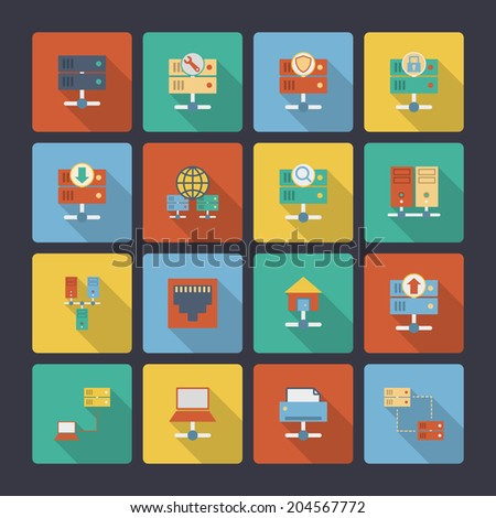 Hosting computer network flat icons set with computer technology elements isolated vector illustration - stock vector