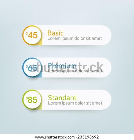 Hosting plans and website design banner price. - stock vector