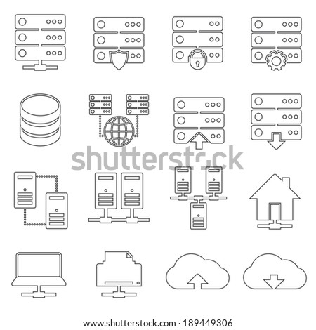 Hosting technology computer global network security and communications icons set isolated vector illustration - stock vector
