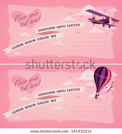 Hot air balloon and biplane. Invitation - stock vector