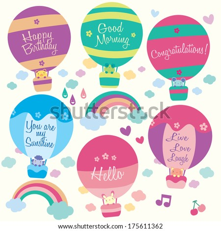 Hot air balloon animals clip art - stock vector