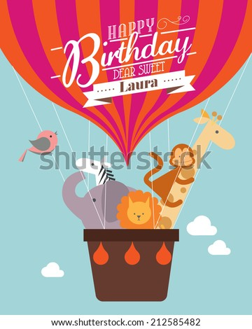 hot air balloon birthday card template vector/illustration - stock vector