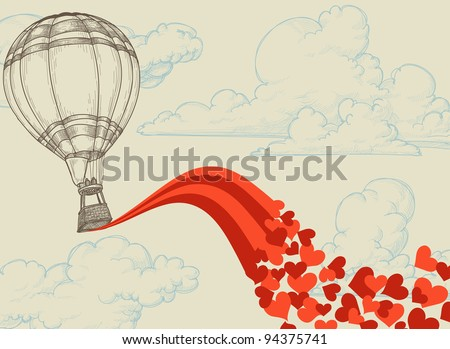 Hot air balloon flying hearts romantic concept - stock vector