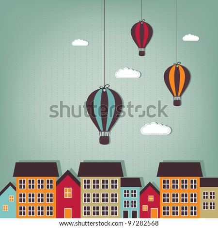 Hot air balloon flying over town -  scrap elements - stock vector