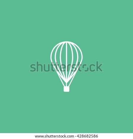 Hot Air Balloon Icon On Green Background