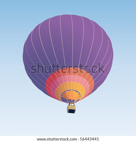 Hot air balloon illustration on blue background - stock vector