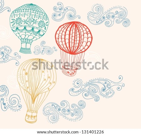 hot Air Balloon in sky, hand drawn Background for Design, vector - stock vector