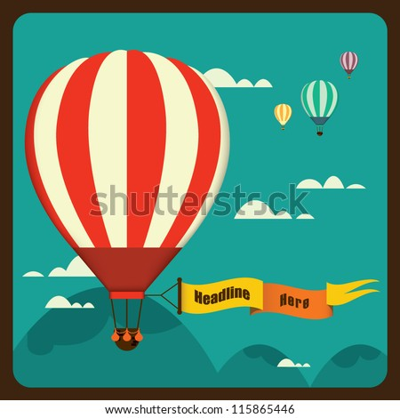 hot air balloon in the sky vector/ illustration / background/ greeting card - stock vector